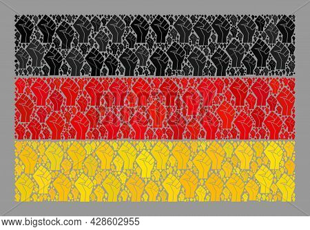 Mosaic Rectangle Germany Flag Constructed With Riot Hand Items. Solidarity Hand Vector Collage Germa