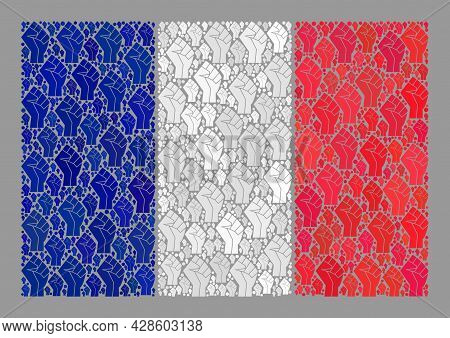 Mosaic Rectangular France Flag Constructed Of Force Icons. Riot Hand Vector Mosaic France Flag Const