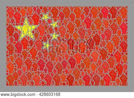 Mosaic Rectangle China Flag Constructed Of Riot Hand Elements. Riot Hand Vector Collage China Flag D