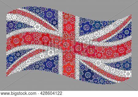Mosaic Waving United Kingdom Flag Designed With Component Icons. Vector Cog Wheel Mosaic Waving Unit