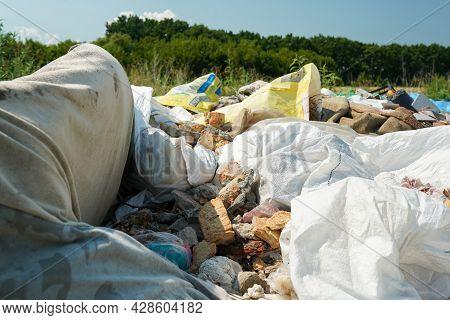 Big Rubbish Dump Neare The Road In The Nature