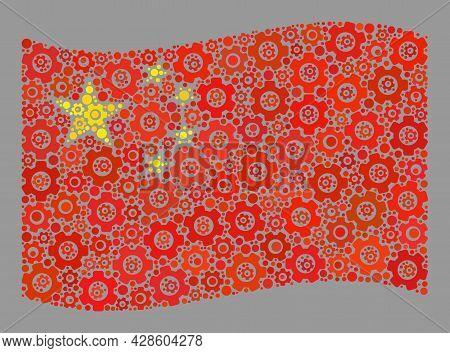Mosaic Waving China Flag Created Of Service Icons. Vector Cog Mosaic Waving China Flag Done For Prod