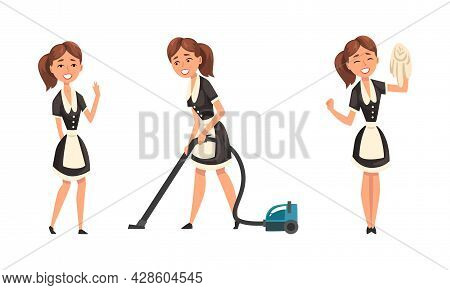 Smiling Maid Or Housemaid In Black Dress And White Apron Vacuum Cleaning And Swiping Vector Set