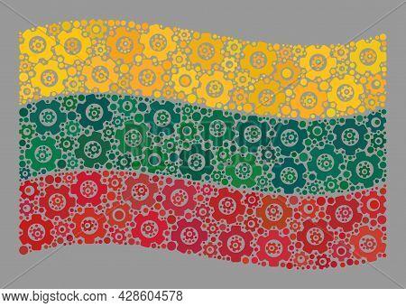Mosaic Waving Lithuania Flag Created Of Gear Items. Vector Gear Wheel Collage Waving Lithuania Flag