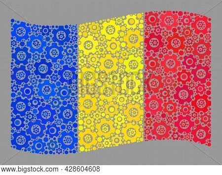 Mosaic Waving Romania Flag Created With Technical Icons. Vector Gear Wheel Collage Waving Romania Fl
