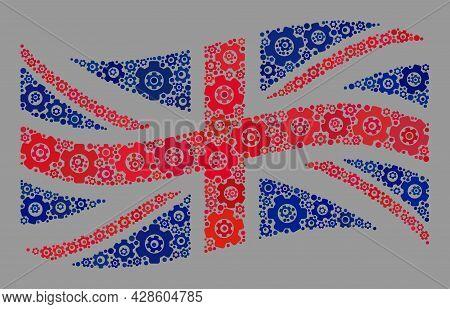 Mosaic Waving Great Britain Flag Constructed With Repair Items. Vector Gear Mosaic Waving Great Brit