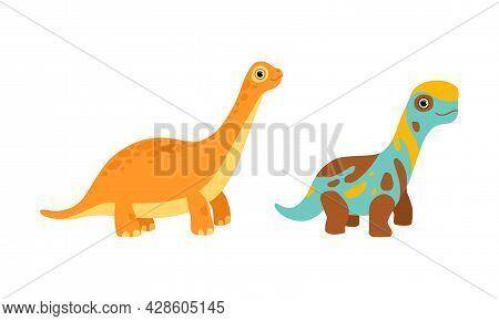 Funny Dinosaur With Spots As Cute Prehistoric Creature And Comic Jurassic Predator Vector Set