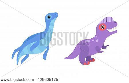 Funny Dinosaur With Flipper And Purple Skin As Cute Prehistoric Creature And Comic Jurassic Predator