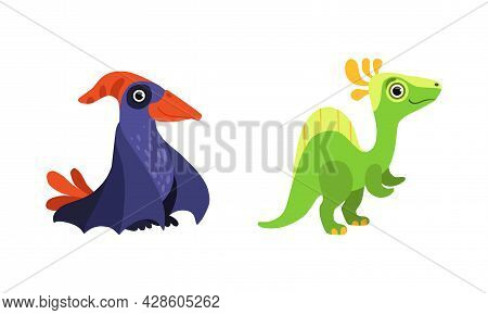 Funny Dinosaur With Tail And Winga As Cute Prehistoric Creature And Comic Jurassic Predator Vector S