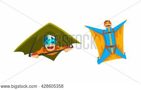 Skydiver Flying With Paraglider And In Wingsuit As Extreme Sport Vector Set