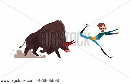 Bullfighter Or Matador Escaping From Furious Bull Vector Set