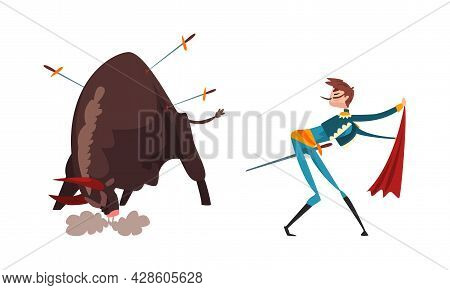 Bullfighter Or Matador Waving Red Cloak And Bull Pierced With Swords Vector Set