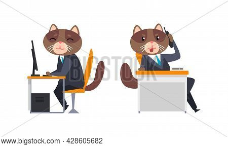 Cat Businessman Character In Formal Suit And Tie Working At Computer And Speaking By Phone Vector Se
