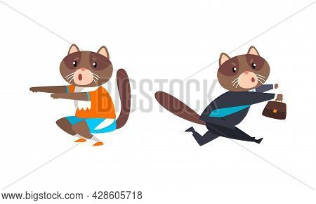 Cat Businessman Character In Formal Suit And Tie Hurrying To Work And Doing Physical Exercise Vector