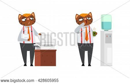 Cat Businessman Character In Formal Suit And Tie Yawning With Coffee Cup And Printing Paper Document