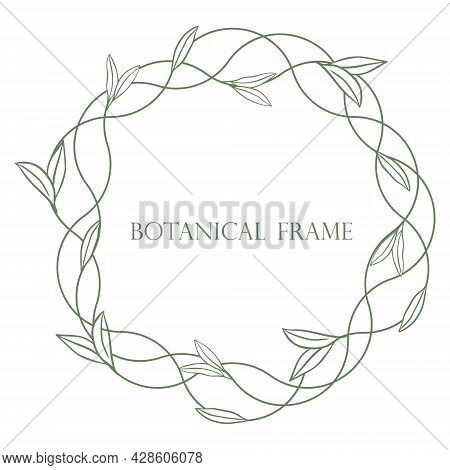 Round Botanical Foliage Frame Vector Illustration. Graceful Braided Wreath With Leaves. Bezel For In