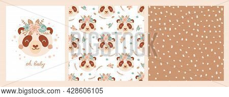 Set Cute Poster And Seamless Pattern With Panda Face And Poster With Lettering Oh Baby. Collection W