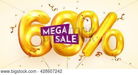 60 Percent Off. Discount Creative Composition Of Golden Balloons. 3d Mega Sale Or Sixty Percent Bonu