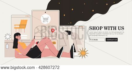 People Shop Online. Woman Buy Clothes, Furniture In Online Store And Order Delivery Through Mobile A