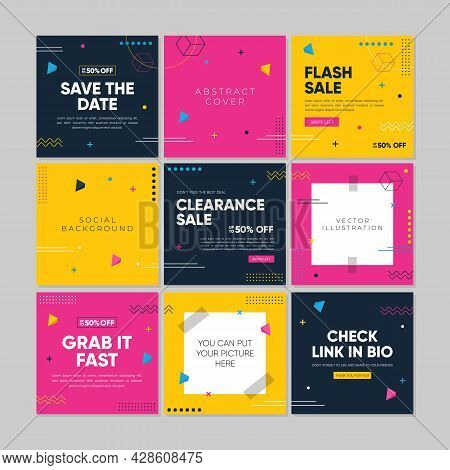 Sale Square Banner Template For Social Media Promotion, Banners Design, Web Or Internet Ads. Abstrac