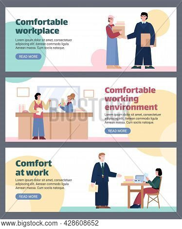Comfortable Working Environment And Comfort At Work, Flat Vector Illustration.