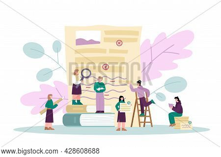 Grammar Editor Banner With People Correcting Text, Flat Vector Illustration.