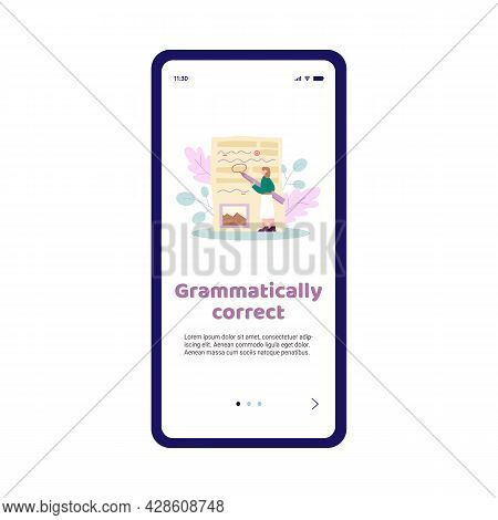 Grammar Correction And Text Editor Mobile App Screen, Flat Vector Illustration.