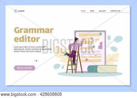 Website Banner For Online Grammar Editor Services, Flat Vector Illustration.