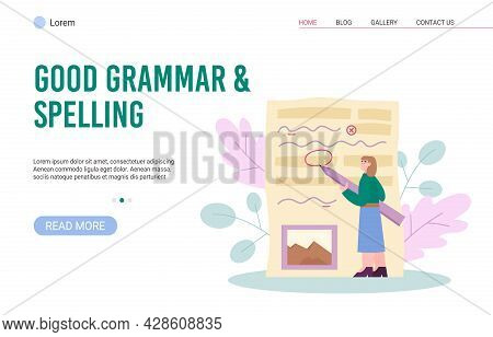 Website For Spelling Corrector And Grammar Editor, Flat Vector Illustration.