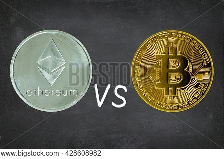 Ethereum vs Bitcoin concept. Cryptocurrency - photo of Ethereum and bitcoin crypto currencies on blackboard background