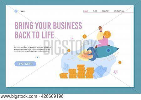 Business Renovation And Boosting Website Banner, Flat Vector Illustration.