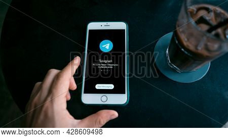 Chiang Mai, Thailand, August 1, 2021: Woman Holding Apple Iphone With Social Networking Service Tele