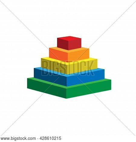 Pyramid Scheme 5 Five Steps. Vector Hierarchy Level Chart Graph, Green Red Yellow Blue Diagram Struc