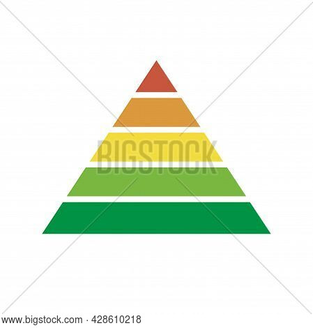 Pyramid Scheme 5 Five Steps. Vector Hierarchy Chart Level Graph, Green Red Yellow Diagram Structure.