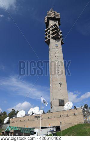 Stockholm, Sweden - August 24, 2018: Kaknastornet Television Broadcasting Tower In Stockholm, Sweden