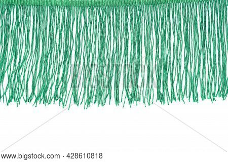 Green Fringe Isolated On White Background. Close Up.