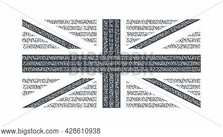 Flag Of The Great Britain. Black Flag The Great Britain. Abstract Great Britain Flag With National A