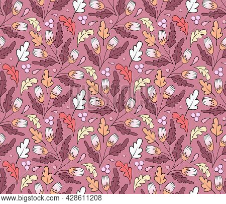 Trendy Seamless Floral Pattern. Abstract Print Of Vibrant Colored Flowers And Leaves In Pink And Pur