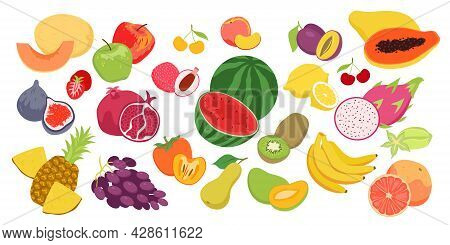 Cartoon Fruity Collection With Strawberry Orange Apple Pineapple Banana Peach Isolated On White. Fru