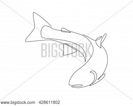 Salmon Fish In One Continuous Line Drawing. Wild Trout Silhouette In Linear Sketch Style On White Ba