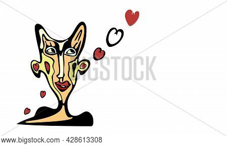Ears Love .abstract Face .love With Your Ears. Love For Words. Whimsical Faces With Ears And Hearts