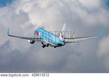 Amsterdam, Netherlands - August 15, 2014: Tui Arkefly Passenger Plane At Airport. Schedule Flight Tr