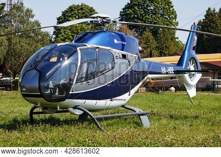 Kaposujlak, Hungary - June 5, 2021: Commercial Helicopter At Airport And Airfield. Rotorcraft. Gener