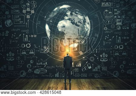 Back View Of Businessman With Lamp Head Looking At Creative Business Sketch And Globe Hologram On Ch