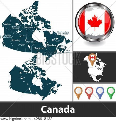 Map Of Canada With Provinces And Territories And Location On North American Map. Vector Image
