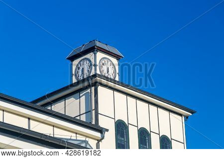 Clock On The Roof Of Former Coal Mine In Walbrzych, Poland.