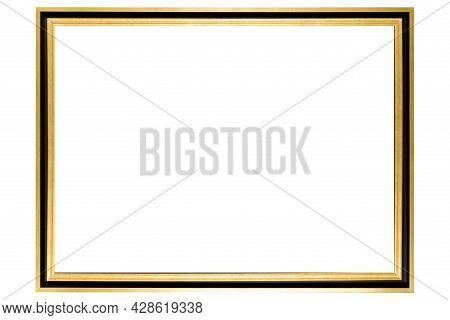 Black Golden Mockup Canvas Frame Isolated On White Background