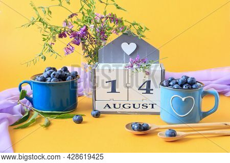 Calendar For August 14 :the Name Of The Month Of August In English, Cubes With The Number 14, Bluebe