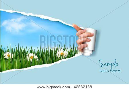 Fondo de naturaleza con hierba verde y cielo y papel rasgado. Ilustración del vector.