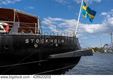 Stockholm, Sweden - July 20, 2021: Side Stern View Of The Old Vintage Steamship Sankt Erik With The